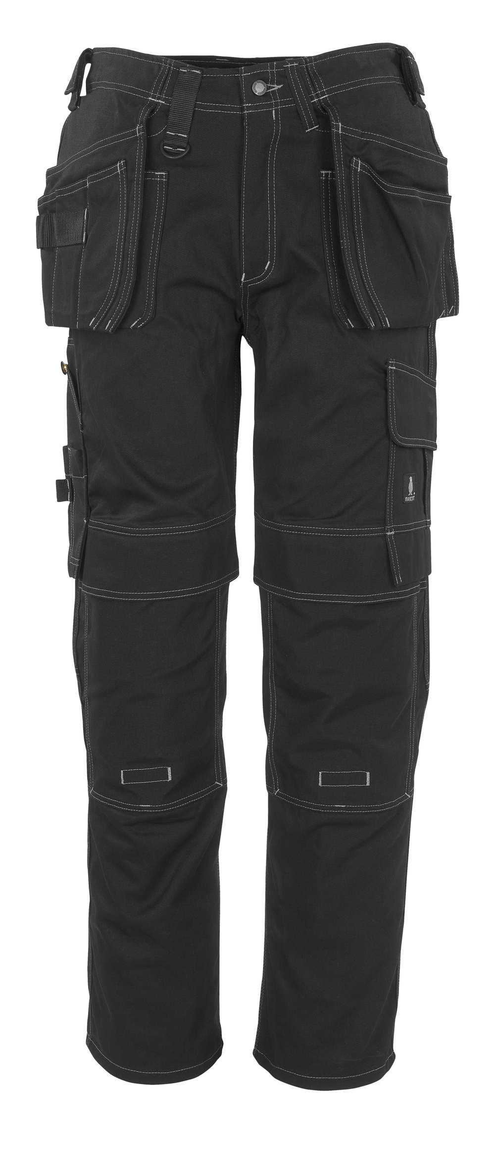 06131-630-09 Spodnie z kieszeniami na kolanach i kieszeniami wiszącymi - czerń