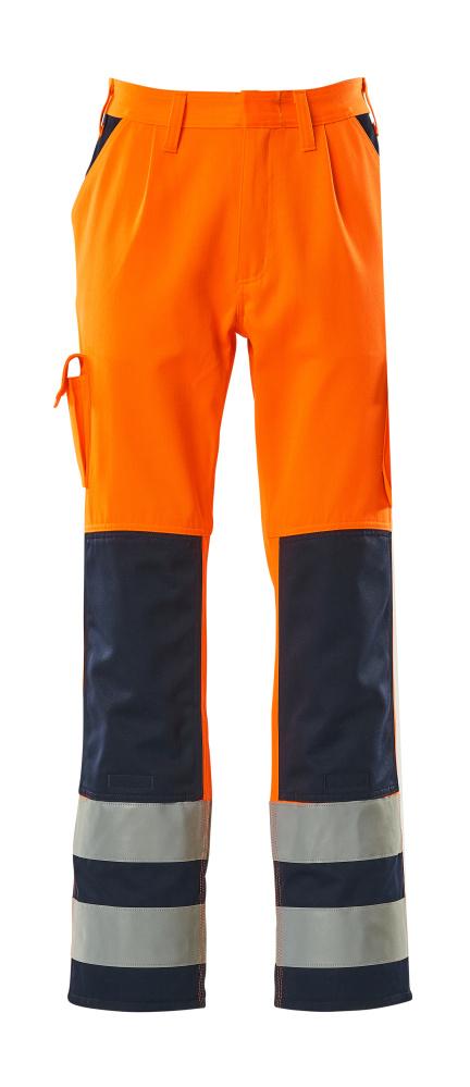 07179-860-141 Spodnie z kieszeniami na kolanach - pomarańcz hi-vis/granat