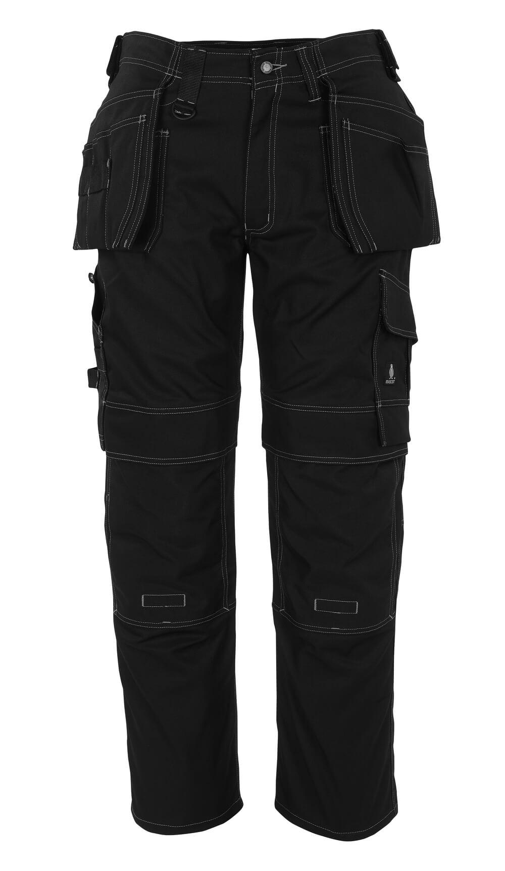08131-010-09 Spodnie z kieszeniami na kolanach i kieszeniami wiszącymi - czerń