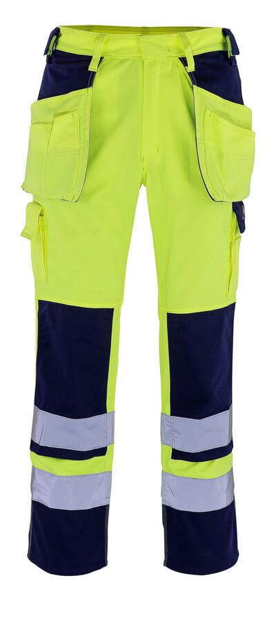 09131-470-171 Spodnie z kieszeniami na kolanach i kieszeniami wiszącymi - żółty hi-vis/granat