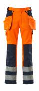 09131-860-141 Spodnie z kieszeniami na kolanach i kieszeniami wiszącymi - pomarańcz hi-vis/granat
