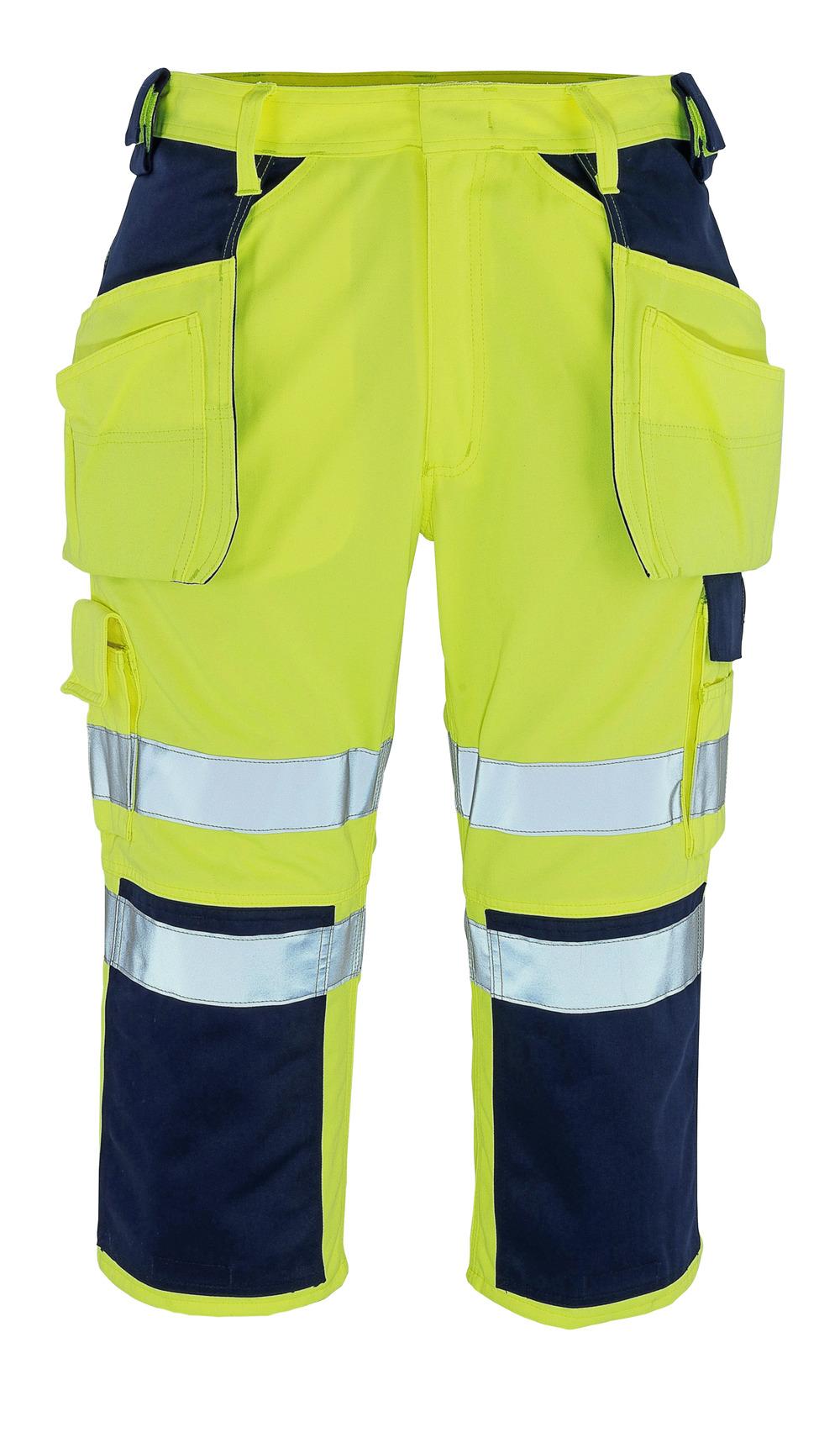 09149-470-171 Spodenki ¾ z kieszeniami na kolanach i kieszeniami wiszącymi - żółty hi-vis/granat