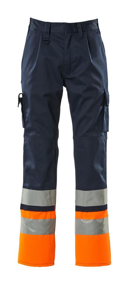 12379-430-0114 Spodnie z kieszeniami na kolanach - granat/pomarańcz hi-vis