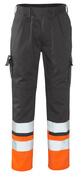 12379-430-B01 Spodnie z kieszeniami na kolanach - antracyt/pomarańcz hi-vis