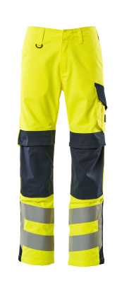 13879-216-17010 Spodnie z kieszeniami na kolanach - żółty hi-vis/ciemny granat
