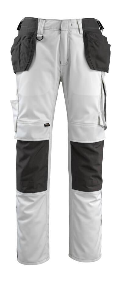 14031-203-0618 Spodnie z kieszeniami na kolanach i kieszeniami wiszącymi - biel/ciemny antracyt
