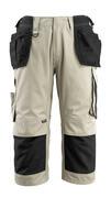 14349-442-0618 Spodenki ¾ z kieszeniami na kolanach i kieszeniami wiszącymi - biel/ciemny antracyt