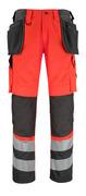 14931-860-A49 Spodnie z kieszeniami na kolanach i kieszeniami wiszącymi - czerwień hi-vis/ciemny antracyt