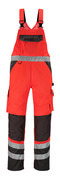14969-860-A49 Ogrodniczki z kieszeniami na kolanach - czerwień hi-vis/ciemny antracyt