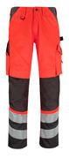14979-860-A49 Spodnie z kieszeniami na kolanach - czerwień hi-vis/ciemny antracyt