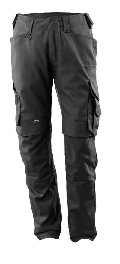 15079-010-09 Spodnie z kieszeniami na kolanach - czerń