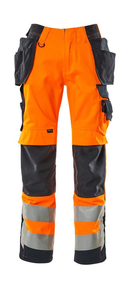 15531-860-14010 Spodnie z kieszeniami wiszącymi - pomarańcz hi-vis/ciemny granat