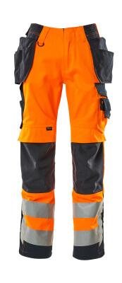 15531-860-14010 Spodnie z kieszeniami na kolanach i kieszeniami wiszącymi - pomarańcz hi-vis/ciemny granat