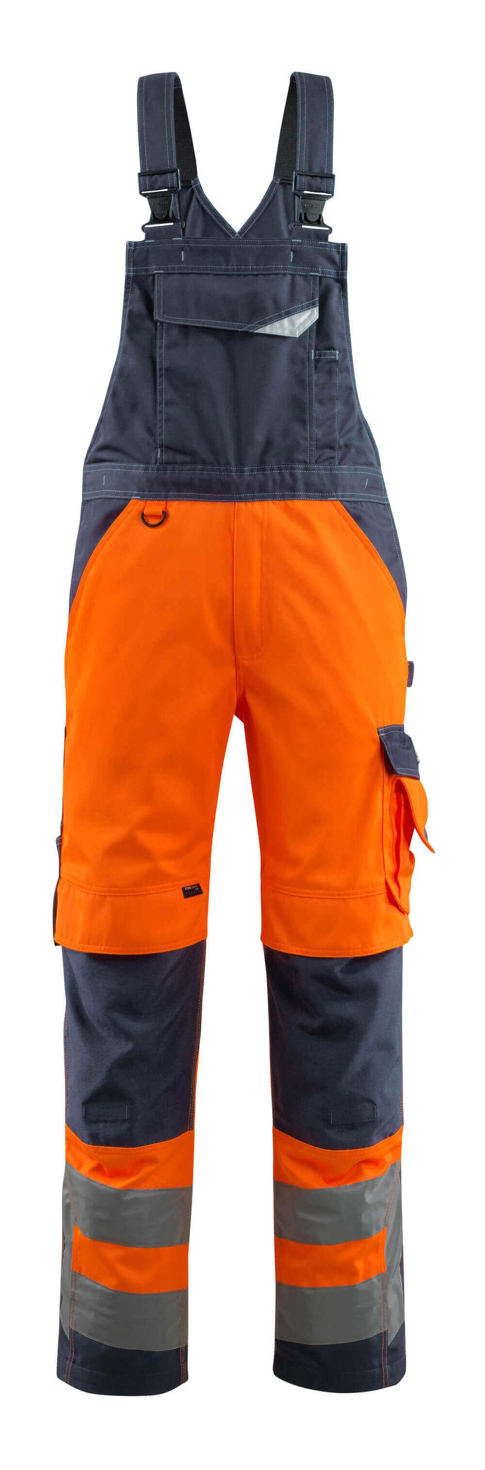 15569-860-14010 Ogrodniczki z kieszeniami na kolanach - pomarańcz hi-vis/ciemny granat