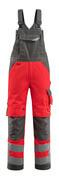 15569-860-22218 Ogrodniczki z kieszeniami na kolanach - czerwień hi-vis/ciemny antracyt