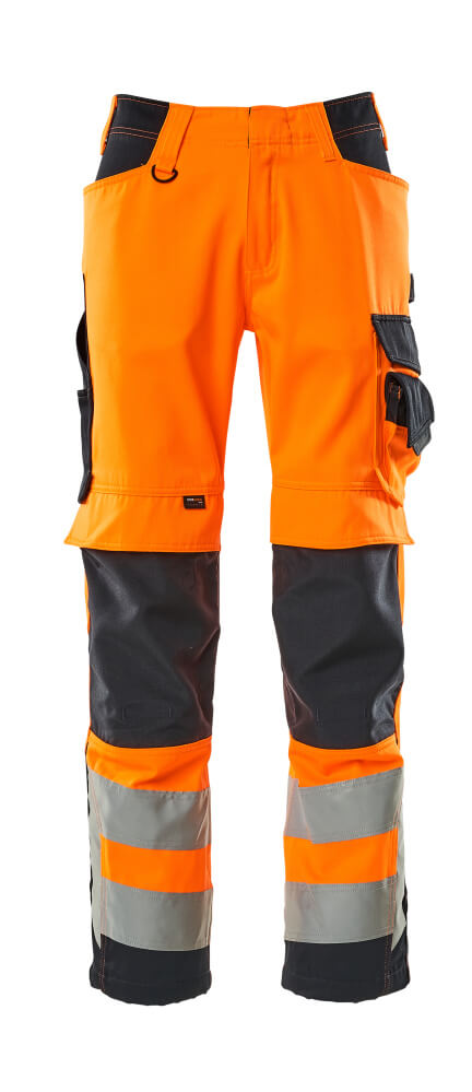 15579-860-14010 Spodnie z kieszeniami na kolanach - pomarańcz hi-vis/ciemny granat