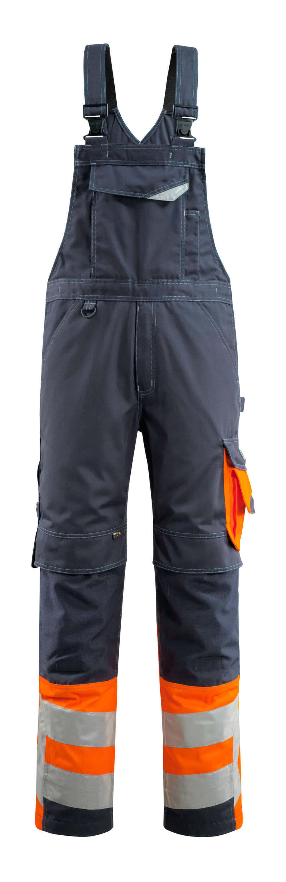 15669-860-01014 Ogrodniczki z kieszeniami na kolanach - ciemny granat/pomarańcz hi-vis