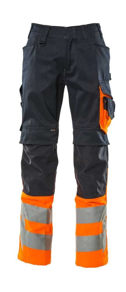 15679-860-01014 Spodnie z kieszeniami na kolanach - ciemny granat/pomarańcz hi-vis