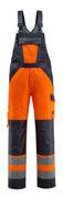 15969-948-14010 Ogrodniczki z kieszeniami na kolanach - pomarańcz hi-vis/ciemny granat