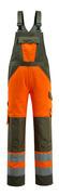 15969-948-1433 Ogrodniczki z kieszeniami na kolanach - pomarańcz hi-vis/zielony mech