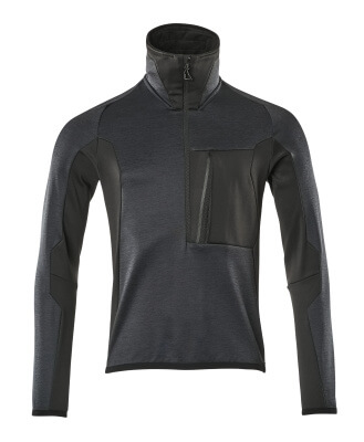 17003-316-01009 Bluza polarowa z krótkim zamkiem błyskawicznym - ciemny granat/czerń