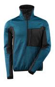 17003-316-4409 Bluza polarowa z krótkim zamkiem błyskawicznym - ciemna petrolowy/czerń