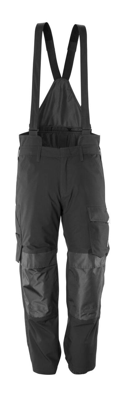 17090-222-09 Spodnie zewnętrzne naciągane z kieszeniami na kolanach - czerń