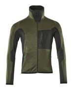 17103-316-3309 Bluza polarowa z zamkiem błyskawicznym - zielony mech/czerń