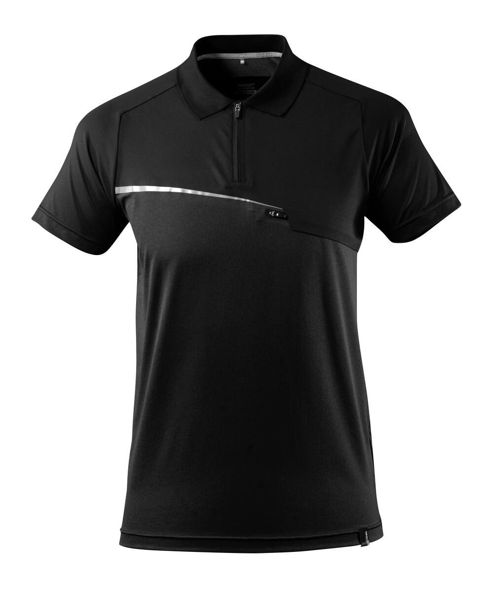 17283-945-09 Koszulka Polo z kieszenią na piersi - czerń