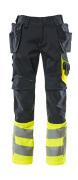 17531-860-01017 Spodnie z kieszeniami wiszącymi - ciemny granat/żółty hi-vis
