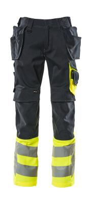 17531-860-01017 Spodnie z kieszeniami na kolanach i kieszeniami wiszącymi - ciemny granat/żółty hi-vis