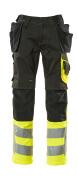 17531-860-0917 Spodnie z kieszeniami na kolanach i kieszeniami wiszącymi - czerń/żółty hi-vis
