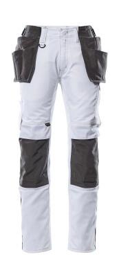 17631-442-0618 Spodnie z kieszeniami na kolanach i kieszeniami wiszącymi - biel/ciemny antracyt
