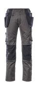 17631-442-1809 Spodnie z kieszeniami na kolanach i kieszeniami wiszącymi - ciemny antracyt/czerń