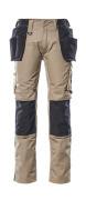 17631-442-5509 Spodnie z kieszeniami na kolanach i kieszeniami wiszącymi - jasny khaki/czerń