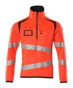 19005-351-14010 Bluza z dzianiny z krótkim zamkiem błyskawicznym - pomarańcz hi-vis/ciemny granat