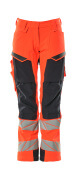19078-511-14010 Spodnie z kieszeniami na kolanach - pomarańcz hi-vis/ciemny granat
