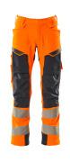 19079-511-14010 Spodnie z kieszeniami wiszącymi - pomarańcz hi-vis/ciemny granat