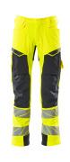 19079-511-14010 Spodnie z kieszeniami na kolanach - pomarańcz hi-vis/ciemny granat
