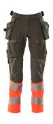 19131-711-01014 Spodnie z kieszeniami wiszącymi - ciemny granat/pomarańcz hi-vis