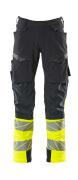 19179-511-01014 Spodnie z kieszeniami na kolanach - ciemny granat/pomarańcz hi-vis