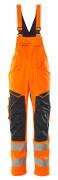 19569-236-14010 Ogrodniczki z kieszeniami na kolanach - pomarańcz hi-vis/ciemny granat