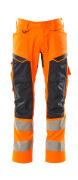 19579-236-14010 Spodnie z kieszeniami na kolanach - pomarańcz hi-vis/ciemny granat