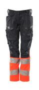 19678-236-01014 Spodnie z kieszeniami na kolanach - ciemny granat/pomarańcz hi-vis