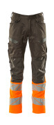19679-236-01014 Spodnie z kieszeniami na kolanach - ciemny granat/pomarańcz hi-vis