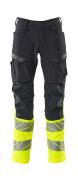 19879-711-01017 Spodnie z kieszeniami na kolanach - ciemny granat/żółty hi-vis