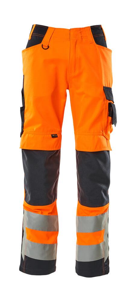 20879-236-14010 Spodnie z kieszeniami na kolanach - pomarańcz hi-vis/ciemny granat