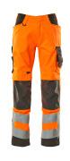 20879-236-1418 Spodnie z kieszeniami na kolanach - pomarańcz hi-vis/ciemny antracyt