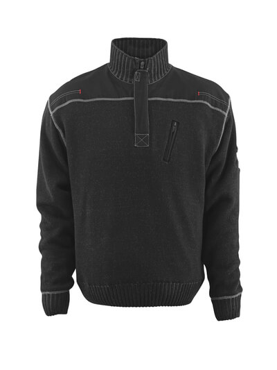 50354-835-09 Bluza z dzianiny z krótkim zamkiem błyskawicznym - czerń