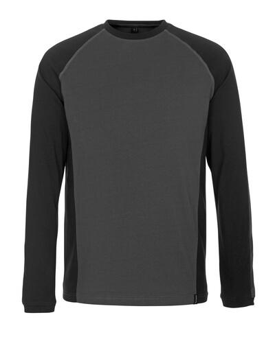 50504-250-1809 T-Shirt, długimi rękawami - ciemny antracyt/czerń